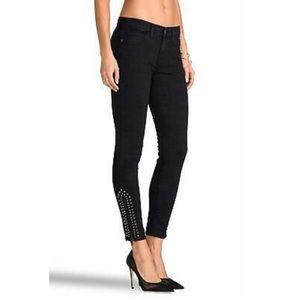 Current/Elliott ZIP Stiletto Black Studded Jeans
